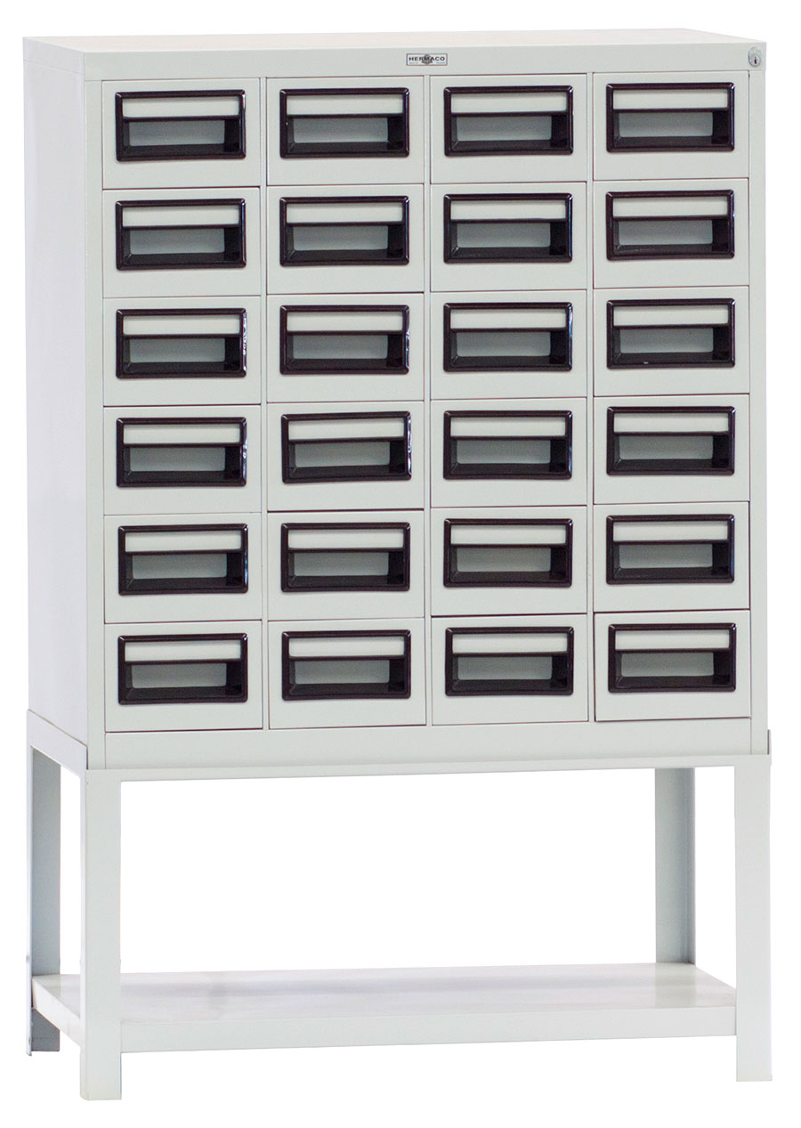 Beau Steel Index Card File Cabinet 24 Drawers